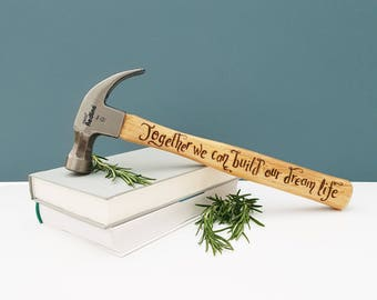 Personalised Hammers, Gift for Boyfriend, Fiancee Gift, Gift for Husband, New Home Gift, Self Build Gift, Custom Hammers, Romantic Gift