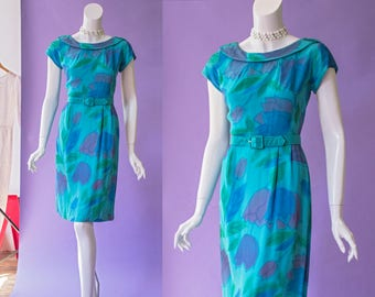60s teal, purple tulip print silk hourglass wiggle dress with belt *as is* | size small