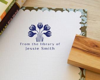 Minoan Crocus Inspired  Bookplate Stamp on Olive Wood