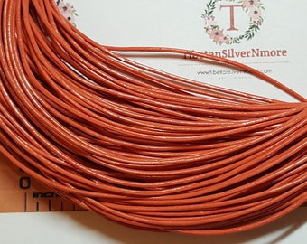 12 ft. long per pack 2.0mm thickness Genuine Leather Cord in Peachy Orange.