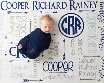 Personalized Boy Blanket - Monogram Boy Blanket - Personalized Baby Blanket -  Monogram Baby Boy Blanket - Name Blanket - Baby Shower Gift