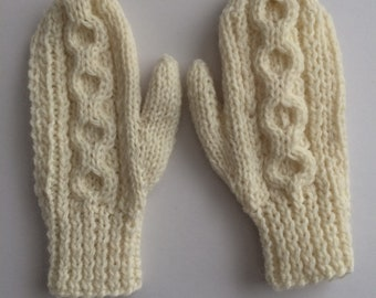 Cream Children's Mittens