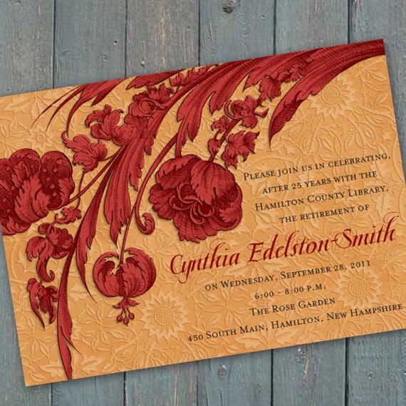 retirement party invitations, cranberry retirement party invitations, ruby retirement party invitations, bridal shower invitations