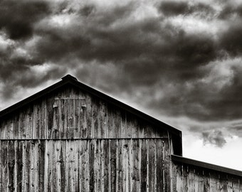 Rural Photography - Solebury Orchards Barn Black and White, Bucks County, Pennsylvania -  8x12