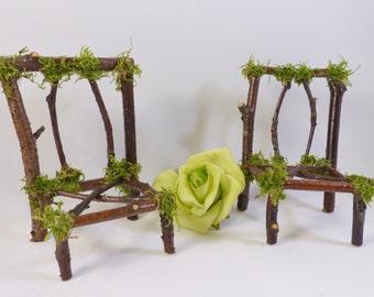 Fairy Chair Set - Pixie, Fae, Handcrafted, Fairy House, Dollhouse Furniture, Fairy Furniture, Faery, Fairy Accessories, Faerie Garden