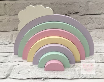 Wooden Stacking Rainbow with Cloud. Pastels and blue/grey available