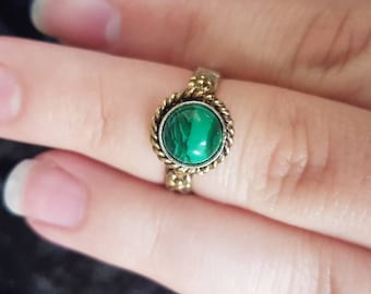 Vintage 14k Gold and Sterling Silver Arts & Crafts style Malachite Ring