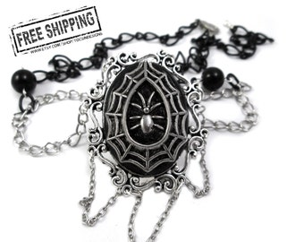 Gothic jewelry - spiderweb necklace - gothic cameo necklace - elegant gothic lolita - gothic victorian goth jewelry deathrock gothic choker