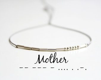 Mother's Day Gift Mother Morse Code Bracelet Dainty Minimalist Jewelry Gift for Mom Sterling Silver Delicate Silk Cord Beaded Bracelet