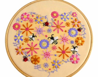 DIY Embroidery Pattern Bees. Flowers Embroidery Designs. Bee Embroidery Kit DIY Hoop Art. Hand Embroidery Pattern. Floral DIY Embroidery Kit