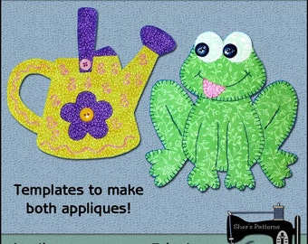 Garden Applique Templates - Frog Applique Pattern - Watering Can Applique Template - Sewing Pattern, PDF Pattern, DIY