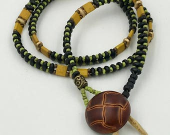 Wrap Bracelet/Necklace in green yellow and black