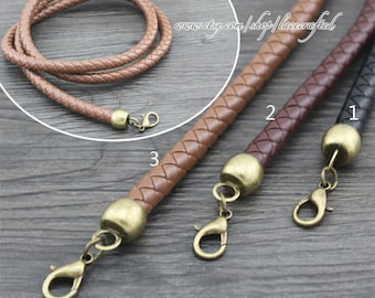 1Pc 116cm Leather Purse Straps,Crochet bag strap,leather strap,purse straps,leather bag strap,round Crochet PU Leather with clasp bag straps