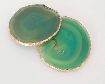 Rose Gold Gilded Agate Drinks Coaster in Green with Rose Gold Leaf Edging. Luxury Boho Homewear