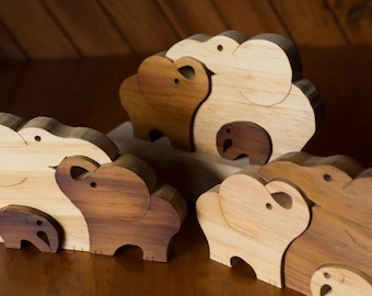 Clustered Elephant Family Ornament