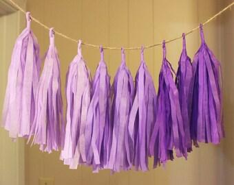 Purple Ombre Tissue Paper Tassel Garland, Spring Color Tassel Garland, Cute Nursery Tassel Garland, Purple Tassel Garland Decor