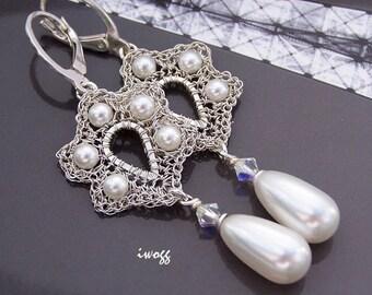 White pearl dangle long bridal elegant earrings, white wedding jewelry, pearl drop retro jewelry for bride, bridesmaid jewelry, vintage look