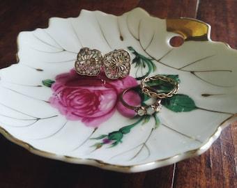 Vintage Ring Dish/Plate~Rose, Nasco