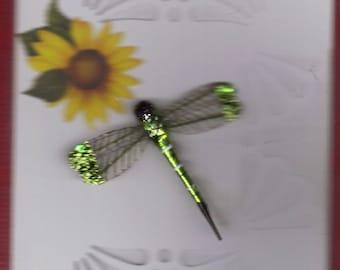 green dragon fly greeting card