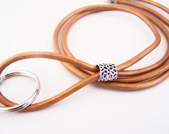 Copper Leather Lanyard, Mens Lanyard, Id Lanyard, Badge Holder, Eyeglass Lanyard, Id Holder, 3mm Leather, 26-36 inchs, Unisex Lanyard