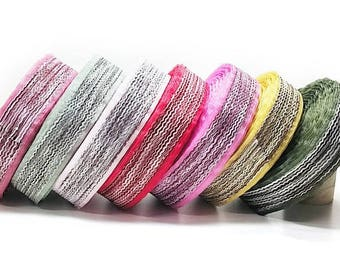 """10 YDs x 40mm(1.5"""") Fancy Weighted Wavy Chiffon Wavy Double Face Ribbon Tape Trim(18 Colors)"""