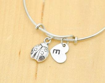 Ladybug Bangle, Sterling Silver Bangle, Ladybug Bracelet, Expandable, Personalized Bracelet, Charm Bangle, Initial Bracelet, Bridesmaid gift
