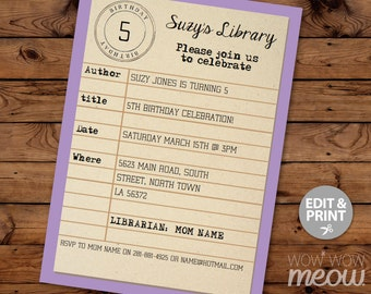 Library Card Birthday Invitation INSTANT DOWNLOAD Party Reading Books Invite Purple Girls Boys Personalize Customize Editable Printable