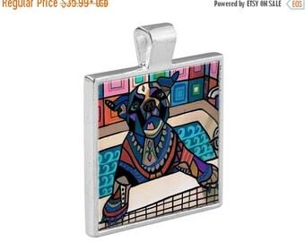 50% SALE- Bulldog Puppy Bathtub Necklace Dog Folk Art Jewelry - Pendant Metal  Gift Art Heather Galler Gift-  Dog Lovers Abstract Moder