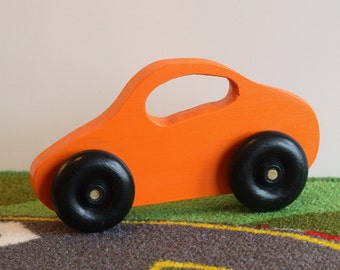 Toy Car Wooden Orange Car - Handcrafted Wooden Orange Toy Car - Baby's First Toy Fits Small Hands - Toy Car with Window Handle - Orange car
