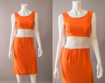 vintage 1960s dress / 60s colorblock linen dress / extra small / Candy Corn Dress