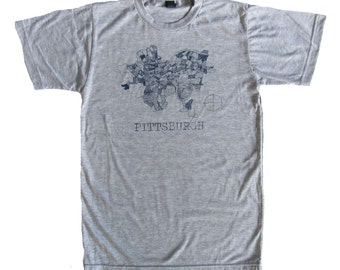 SUPER SOFT Vintage Feel Tee - Pittsburgh 1940 Map in Blue on Heather Gray Tee