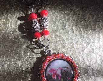 Pink Cattleya Orchid Pendant with Pink, Red & Silver Beaded Accents by Denise's Creations
