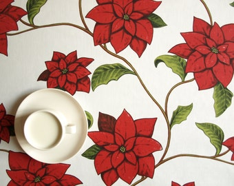 Christmas tablecloth white red green Christmas flower decor ,also napkins , runner , pillow , curtains available, great GIFT