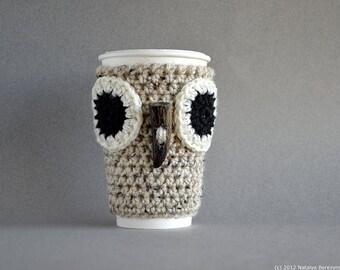 Crochet Pattern, Crochet Coffee Cozy Pattern, Crochet Coffee Sleeve Pattern, Crochet Owl Coffee Sleeve Pattern, Crochet Owl Pattern Owl Cozy