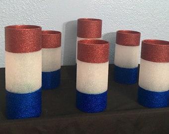 Red, white, blue glitter glass candleholder