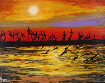 Original painting on oil - Birds on the branches 61 x 85 cm (24 x 33.4 in)