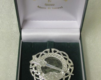 Connemara Marble Celtic Brooch/Pendant Sterling Silver