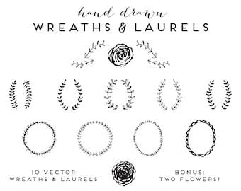Hand Drawn Wreaths and Laurels   Clip Art Vector Illustrations Floral Botanical Branches Flowers Vines Frames Borders Logo Branding