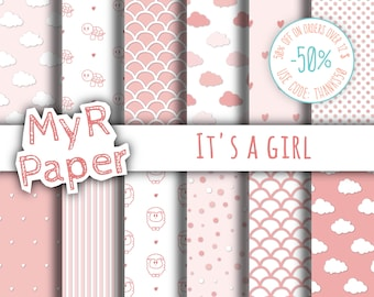 "New baby pink digital paper pack: ""It's a girl"" pack of backgrounds sheep, turtles, dotted, striped, clouds, hearts, scallop - Baby Shower"