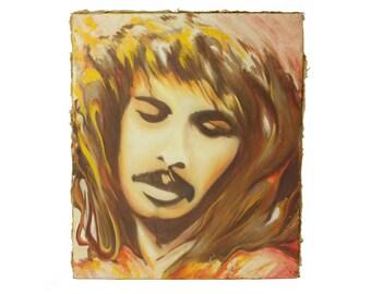 vintage 1970s painted portrait / man with moustache