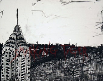 New York Art Print: New York Skyline with Alternate View of the Chrysler Building, 11X14