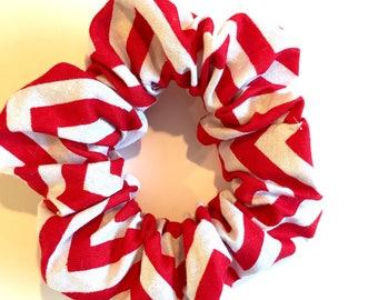 Red and white chevron scrunchie