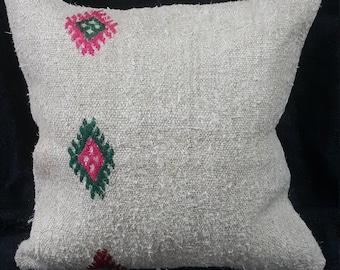 "Kilim Pillow, 18""×18"" inches, Decorative Kilim Pillow, Pillow Cover, Cushion Cover, Throw, Ethnic, Hemp, Linen, Bohemian, Moroccan, Aztec"