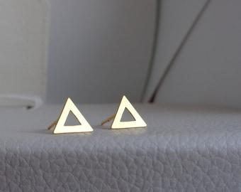 Triangle Vermeil Studs. Vermeil Dainty Earrings. Gold Triangle Earrings. 24k Gold Vermeil Studs. Trangle Stud. Minimalist Gold Vermeil Studs