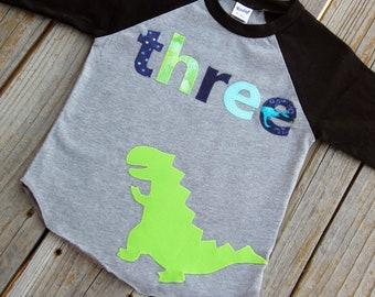 Dinosaur Third Birthday Shirt, Boy Third Birthday Shirt, Birthday Baseball Tee, Third Birthday Shirt