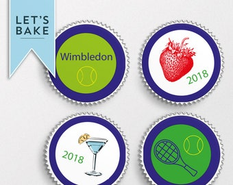 Wimbledon,edible cupcake topper,cake topper,chocolate covered biscuit,marshmallow lolly,edible,rice paper cupcake topper,teacher gifts