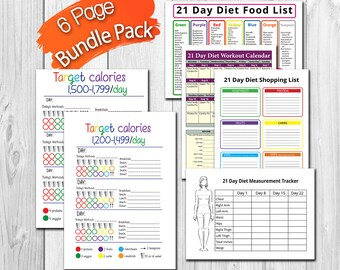 21 Day Fix BUNDLE - 6 Page, 1500-1799 and 1200-1499 Calorie Container Tracking Sheets, Shopping List, Measurement Tracker and More!