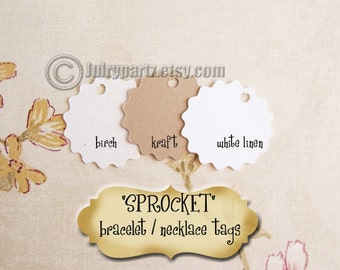 70•Mini SPROCKET•Tags•1X1 inch•Necklace Tags•Bracelet Tags•Price Tags