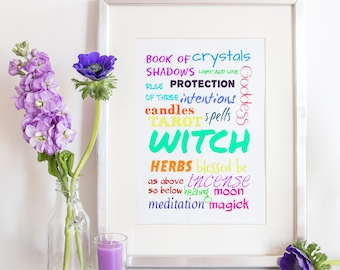 Witch Print, Witch Decor, Witch Prints, Wiccan Decor, Witchcraft Decor, Wiccan Print, Witchcraft Print, Occult Decor, Occult Print, Witch
