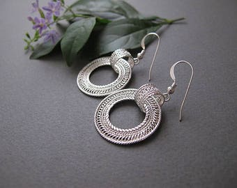 Filigree Silver  Earrings, Gypsy earrings, boho earrings, Israel jewelry,Yemenite jewelry, ethnic jewelry, gift for her